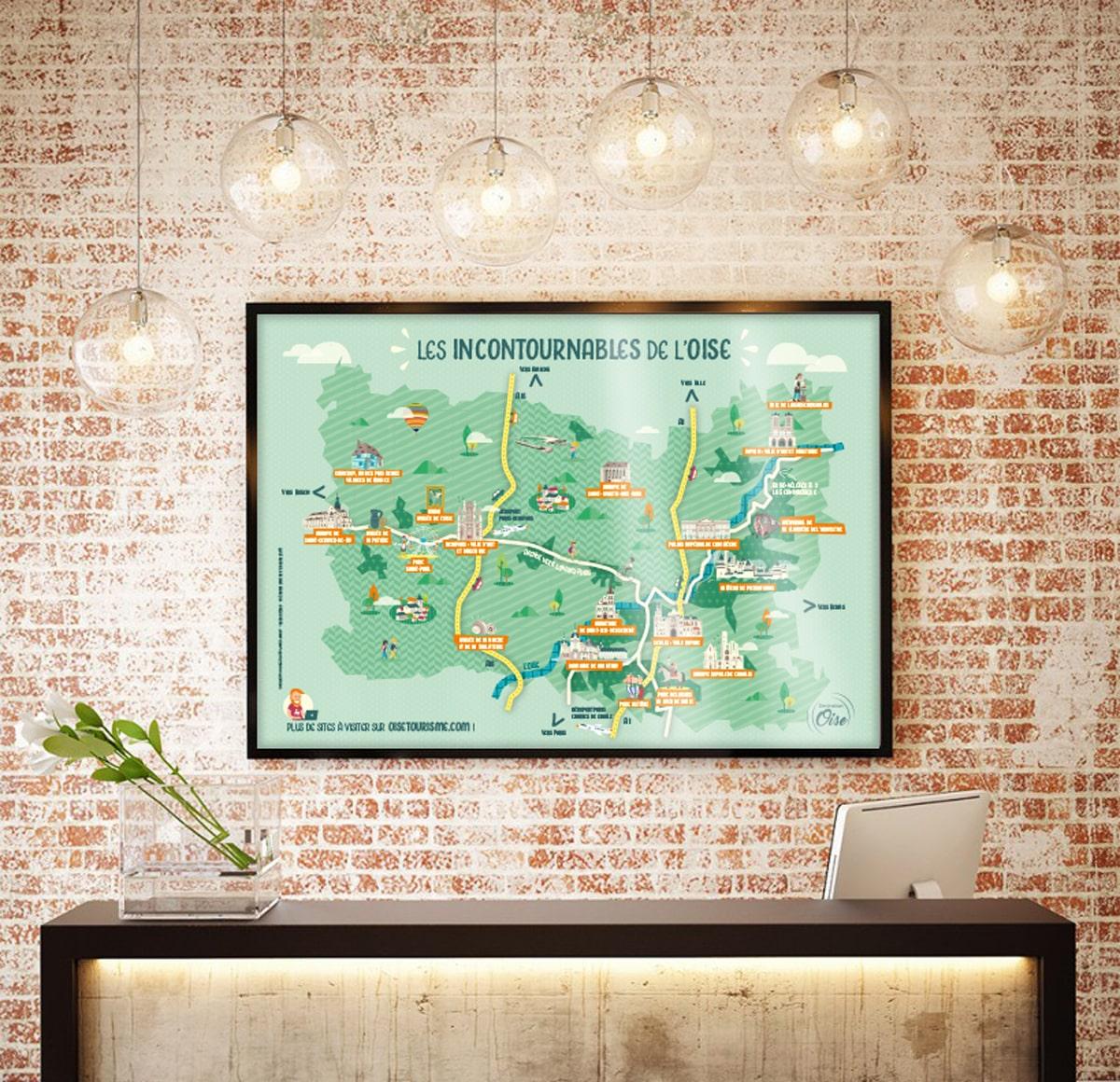 illustration, carte touristique, communication, design graphique, okowoko, tourisme, oise